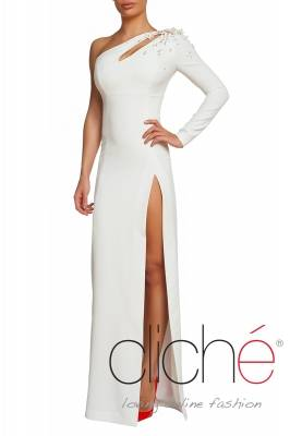 One shoulder evening dress in white