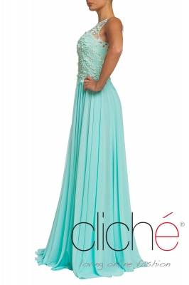 Oficial long dress in mint color