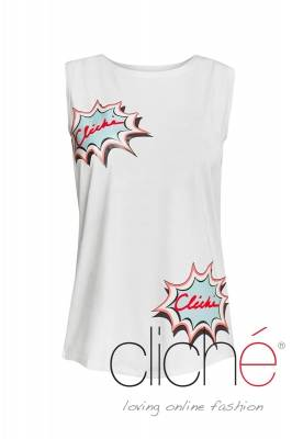 "White top with print ""Cliche"""