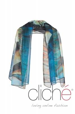 "Scarf with print ""Feathers"""