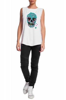 White top with blue scull