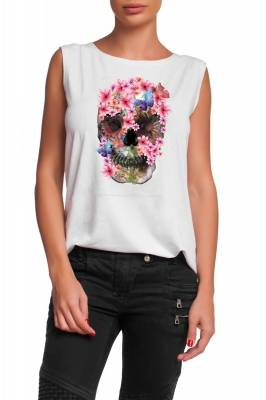 White top with pink flower scull