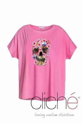 Pink t-shirt with a skull