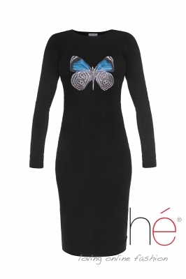 Knitted dress with a blue butterfly