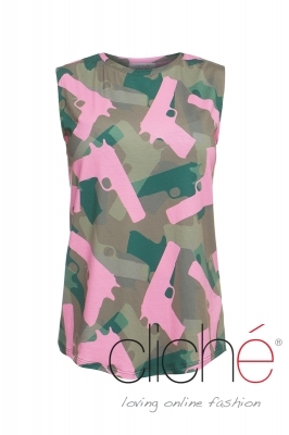 "Top with a ""Military"" print and pink guns"