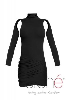 Knitted turtleneck dress in black