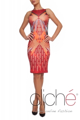 Dress with a military print in orange