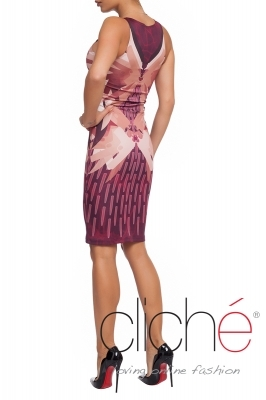 Dress with a military print in bordeaux