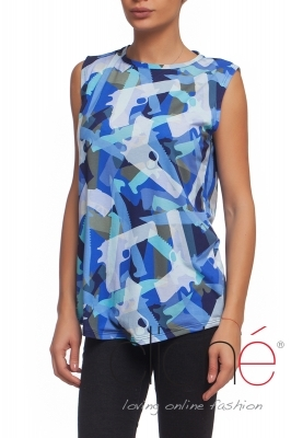 Blue top with a military print