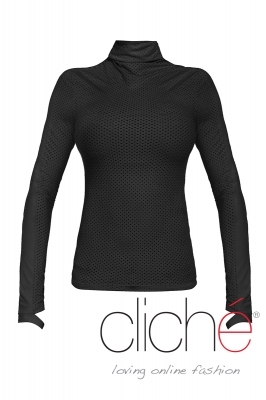 Black turtleneck blouse