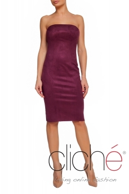 Suede dress in burgundy