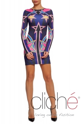 """Glitter"" dress with long sleeves"