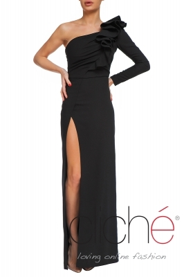 Elegant black dress with one shoulder