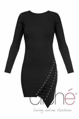 Asymmetric dress with eyelets