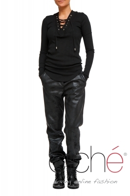 Coated leather pants with edging