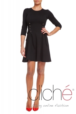 Flared dress with eyelets