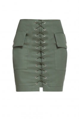 Green skirt with ties