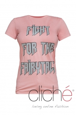 """Fight for the fairytale"" pink T-shirt"
