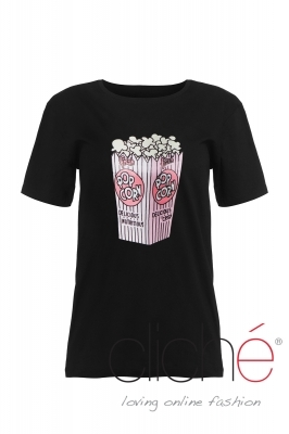 "Oversized ""popcorn"" T-shirt in black"