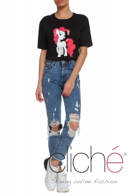 "Oversized ""pony"" T-shirt in black"