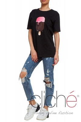 "Oversized ""Ice-cream"" T-shirt in black"
