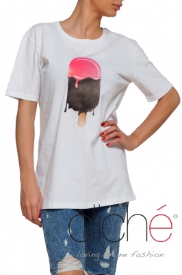 "Oversized ""Ice-cream"" T-shirt in white"