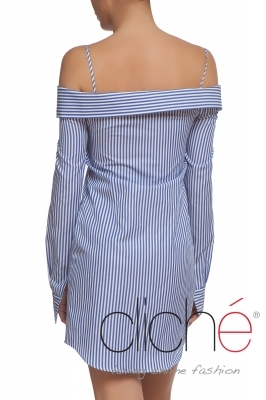 Off shoulder shirt with stripes