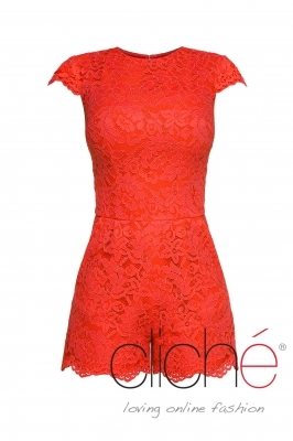 Lace jumpsuit in coral