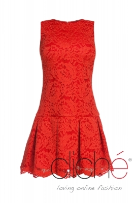 Lace dress in coral