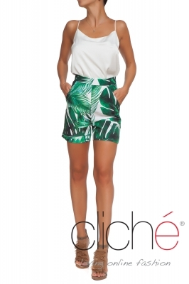 """Palm Leaves"" high-waisted shorts"