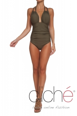 One-piece swimsuit in kaki