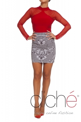 Skirt with dogtooth print