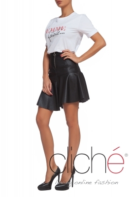 Asymetric leather skirt