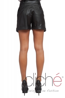 Wide leather shorts