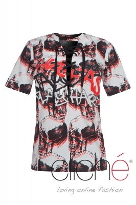 T-shirt with ties and skulls pattern