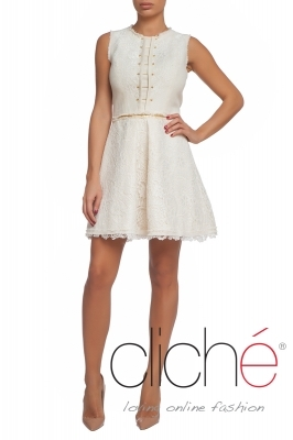 Short flax dress with lace applications
