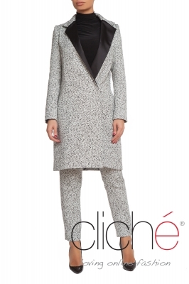 Long tweed coat with satin rever