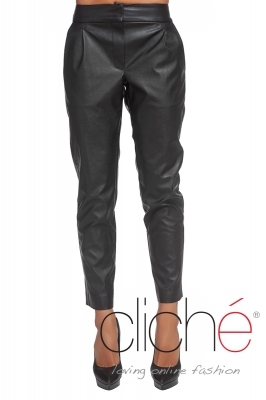 Black leather pants with pockets