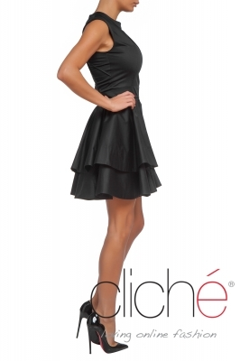 Black dress with decorative stitches