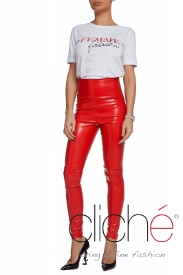Red leather leggings with high waist