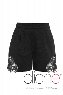 Black knitted shorts with lace