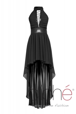 Black dress with leather elements and links