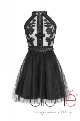 Black dress with leather decorations