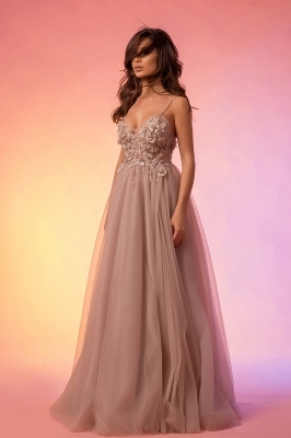 Prom maxi dress with tulle skirt