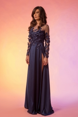 Maxi prom blue dress with long sleeve
