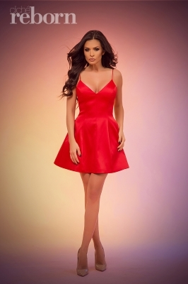 Red satin mini dress with thin straps