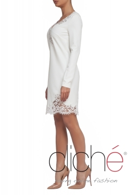 Midi white dress with lace neckline