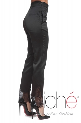 Formal satin trousers with lace