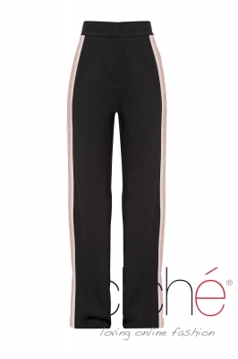 Black trousers with side stripe