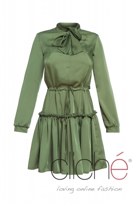 Long sleeve green dress with neck tie